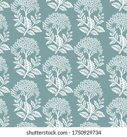 Seamless pattern with white Elderflowers on blue background. Vector illustration.