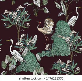 Seamless Pattern White Exotic Cranes Birds in Blooming Summer Garden with  Oleander Flowers Trees on Dark Drama Background Hand Drawn Ink  Night Floral Print Realistic Illistration