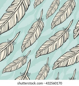 seamless pattern with white feather on blue background.Eps-8