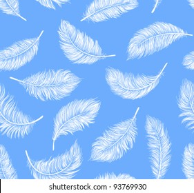 Seamless pattern with white feathers