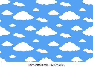 Seamless pattern white flat cloud on blue sky background.