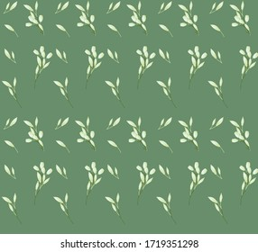 Seamless pattern with white flowers and buds on a light green background.