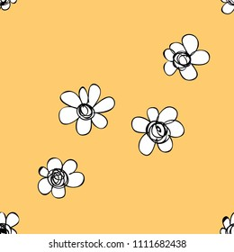 Seamless pattern of white flowers on egg color background