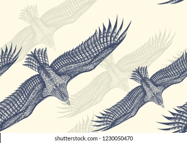 Seamless pattern. White pattern with flying eagles. Material design.