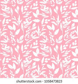 Seamless pattern with white graceful leaves and twigs. Excellent illustration for printing on fabric, cloth, wallpaper and other surfaces.