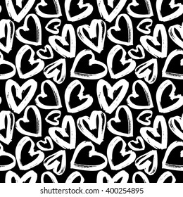Seamless pattern of white heart on black background, monochrome hearts background, vector illustration, design for banner, flyer, card, invitation, holiday, wrapping, textile