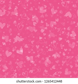 Seamless pattern with white hearts for Valentine's Day. Vector