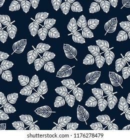 Seamless pattern with white leaves. Vector illustration on blue background.
