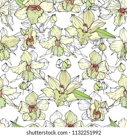 Seamless pattern with white orchids. Endless texture for floral design.