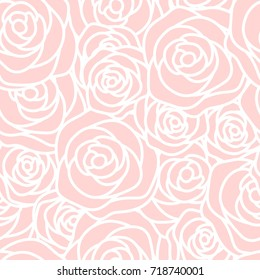 Seamless pattern with white outline roses on pink background. Elegant design for wallpaper, wedding invitations, greeting cards, scrapbook, textile print. Vector illustration.