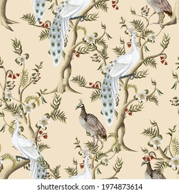 Seamless pattern with white peacocks and peonies trees in chinoiserie style. Vector