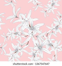 Seamless pattern white Petrea volubilis flowers on isolated pink pastel background.Vector illustration hand drawing beautiful fabric design.