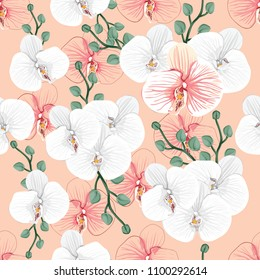 Seamless pattern white and pink Orchid flowers on pink pastel backgground.Vector illustration watercolor style.For used wallpaper design,textile fabric or wrapping paper.