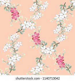 Seamless pattern white and pink wild flowers on pink pastel color backgground.Vector illustration hand drawn.For used wallpaper design,textile fabric or wrapping paper.