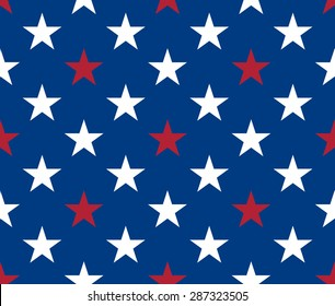 Seamless pattern. White and red five pointed stars on blue background