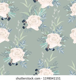 Seamless pattern with white roses flowers, leaves and berries. Hand drawn vintage background. floral pattern for wallpaper or fabric.