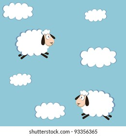 seamless pattern white sheep and cloud on the sky. vector illustration
