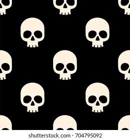 Seamless pattern with white skulls. Vector illustration