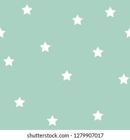 Seamless Pattern with white stars and green background