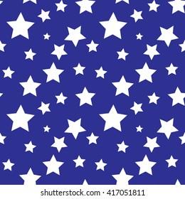 Seamless pattern. White stars on blue background.