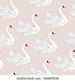 Seamless pattern with white swans. White bird ornamental tile background.