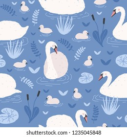Seamless pattern with white swans and brood of cygnets floating in pond or lake among water lilies and reeds. Backdrop with flock of birds. Flat vector illustration for wrapping paper, textile print.