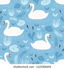 Seamless pattern with white swans floating in water pond or lake among plants. Backdrop with beautiful wild birds, waterfowl. Flat hand drawn vector illustration in cartoon style for textile print.