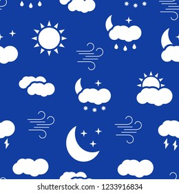 Seamless pattern with white weather icons. Vector illustration.