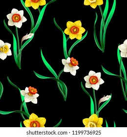 Seamless pattern with white and yellow daffodils flowers.