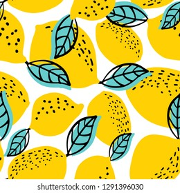 Seamless pattern with whole lemons and leaves. Vector illustration. Can be used for textile, clothing, wrb, scrapbooking, wallpaper