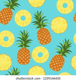 Seamless pattern with whole pineapples and slices on a blue background. Vector illustration of tropical fruits in cartoon flat style.