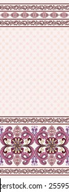 seamless pattern with wide bright pink  border and maroon  decor  on a light background