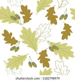 seamless pattern wiht oak leaves.