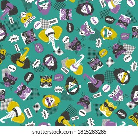 Seamless pattern of wild animals in sea green violet mustard yellow with lion elephant tiger leopard, graphic geometric abstract retro vintage, sweet happy kids background illustration in vector