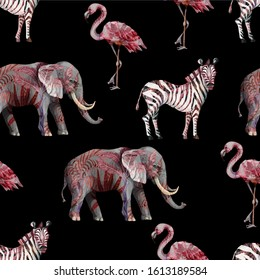 Seamless pattern with wild animals such as elephant, zebra and flamingo. Vector.