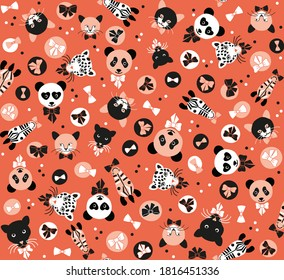 Seamless pattern of wild cats zebra panda black tiger leopard in orange with bows and dots, graphic geometric abstract minimal retro vintage, sweet happy kids background illustration in vector