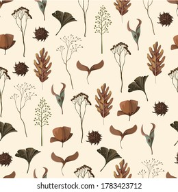 Seamless pattern with wild and dried flowers. Autumn trendy print
