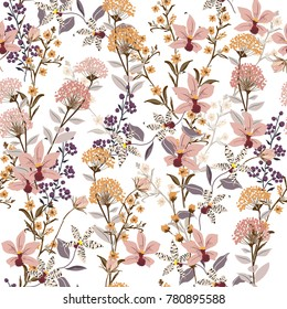 Seamless Pattern wild flowers,  Isolated on white color. Botanical Floral Decoration Texture. Vintage Style Design for Fabric Print, Wallpaper Background.