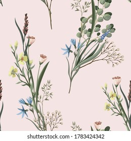 Seamless pattern with wild flowers. Trendy textile print