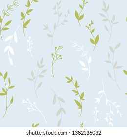 Seamless pattern with wild herbs branches and leaves  background cute spring vintage colorful pattern with leaves.