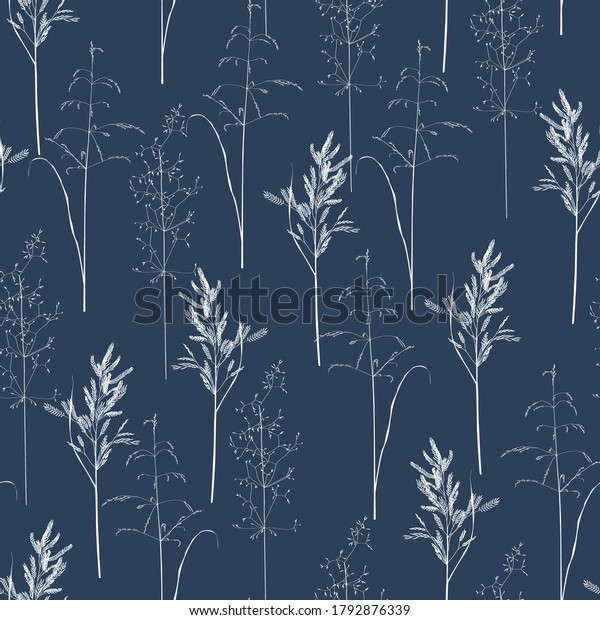 Seamless pattern with wild herbs and grasses.Thin delicate lines silhouettes of different plants. White line on blue background.