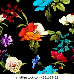 Seamless pattern of wild rose, poppy flowers and cornflowers with leaves on black. Hand drawn. Vector stock.