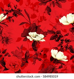Seamless pattern of wild rose, poppy flowers, cornflowers with humming bird on branch with leaves on red. Hand drawn. Vector stock.
