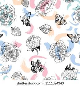 Seamless pattern of wild roses blossom branch. Linear drawing on spring color back. Summer botanical hand drawn illustration. Spring flowers of garden rose, dog rose. Vector design