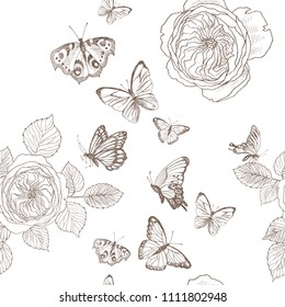 Seamless pattern of wild roses blossom branch and butterfly. Vintage botanical hand drawn illustration. Spring flowers of garden rose, dog rose. Vector design