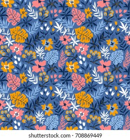 Seamless pattern with wild tropical plants and flowers. Tropic vector repeating background.