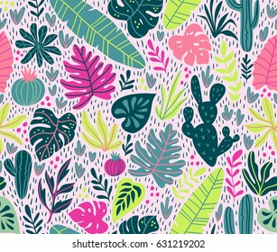 Seamless pattern with wild tropical rainforest. Tropic vector repeating background.