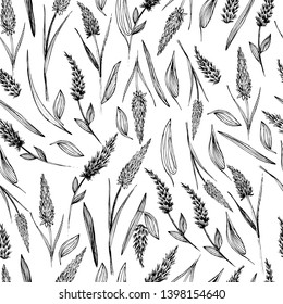 Seamless pattern with wildflowers, dragons, cockerels. Summer flowers in different angles. Manual graphics liner and mascara. For textiles, design, scrapbooking, templates, for cosmetics