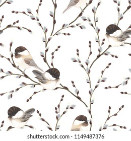 Seamless pattern of Willow branches and birds Black-capped Chickadee, vector illustration on white background in vintage watercolor style.