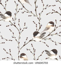 Seamless pattern of Willow branches and birds Black-capped Chickadee, vector illustration on gray background in vintage watercolor style.